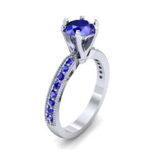 Six-Prong Milgrain Pave Blue Sapphire Engagement Ring (0.9 Carat)