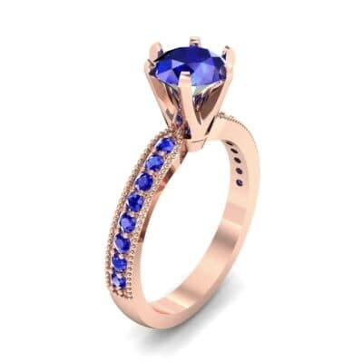 Six-Prong Milgrain Pave Blue Sapphire Engagement Ring (0.9 CTW) Perspective View