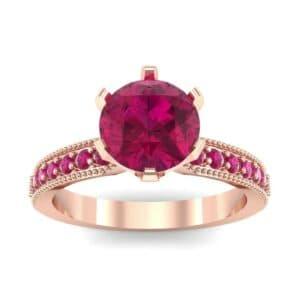 Six-Prong Milgrain Pave Ruby Engagement Ring (0.9 Carat)