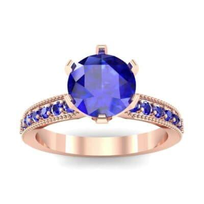Six-Prong Milgrain Pave Blue Sapphire Engagement Ring (0.9 CTW) Top Dynamic View