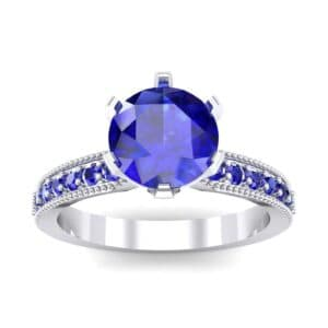 Six-Prong Milgrain Pave Blue Sapphire Engagement Ring (0.9 Carat)