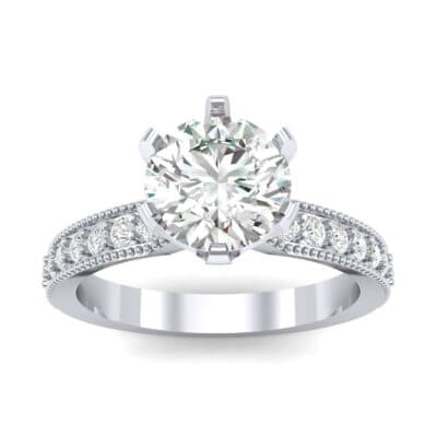 Six-Prong Milgrain Pave Diamond Engagement Ring (0.9 Carat)