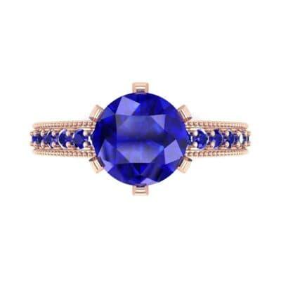 Six-Prong Milgrain Pave Blue Sapphire Engagement Ring (0.9 CTW) Top Flat View