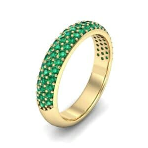 Domed Three-Row Pave Emerald Ring (1.01 Carat)
