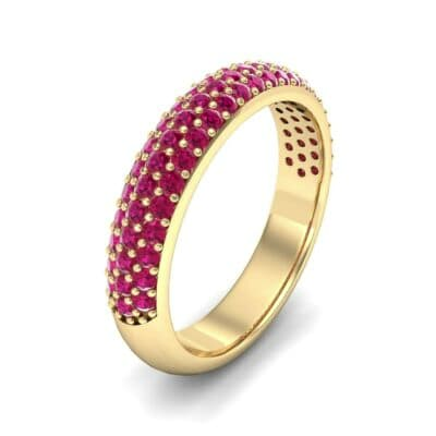 Domed Three-Row Pave Ruby Ring (1.01 Carat)
