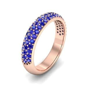 Domed Three-Row Pave Blue Sapphire Ring (1.01 Carat)
