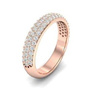 Domed Three-Row Pave Diamond Ring (1.01 Carat)