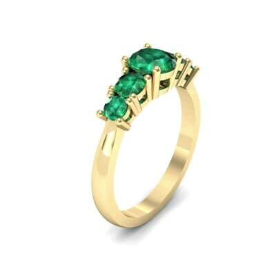 Oval and Round Five-Stone Emerald Engagement Ring (1.32 CTW)
