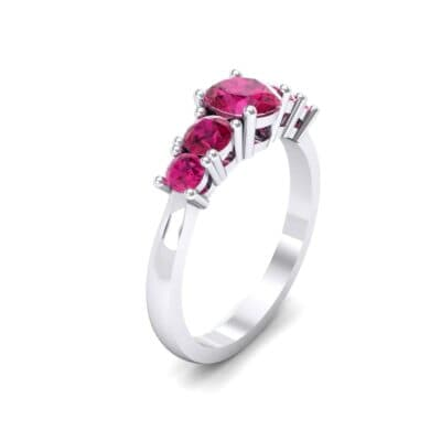 Oval and Round Five-Stone Ruby Engagement Ring (1.32 CTW)
