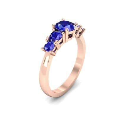 Oval and Round Five-Stone Blue Sapphire Engagement Ring (1.32 CTW)