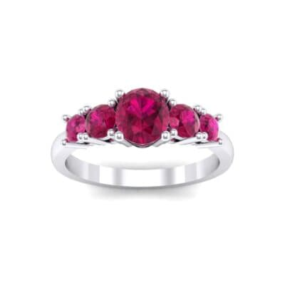 Oval and Round Five-Stone Ruby Engagement Ring (1.32 Carat)