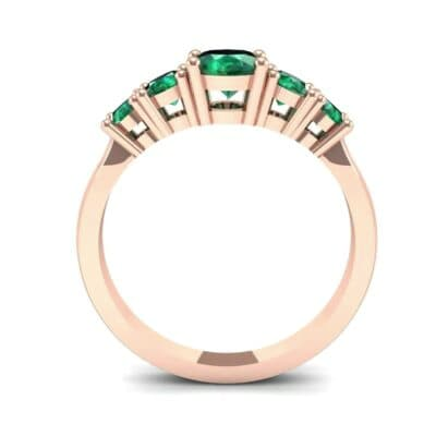 Oval and Round Five-Stone Emerald Engagement Ring (1.32 CTW) Side View