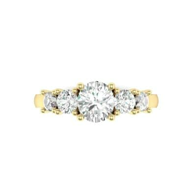 Oval and Round Five-Stone Diamond Engagement Ring (1.32 CTW) Top Flat View