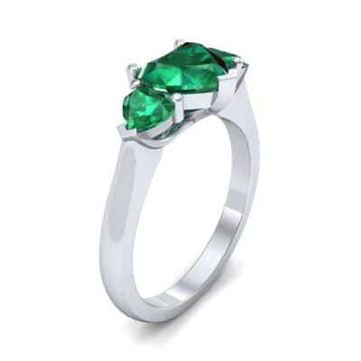 Heart Three-Stone Trellis Emerald Engagement Ring (1.72 CTW)
