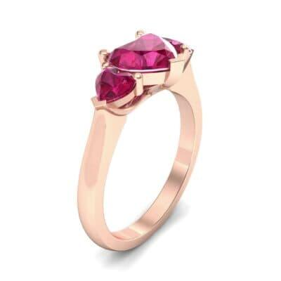 Heart Three-Stone Trellis Ruby Engagement Ring (1.72 Carat)