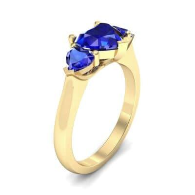 Heart Three-Stone Trellis Blue Sapphire Engagement Ring (1.72 Carat)