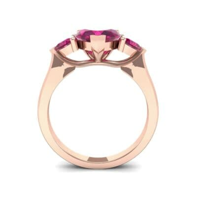 Heart Three-Stone Trellis Ruby Engagement Ring (1.72 CTW) Side View