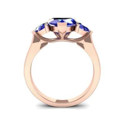 Heart Three-Stone Trellis Blue Sapphire Engagement Ring (1.72 CTW) Side View