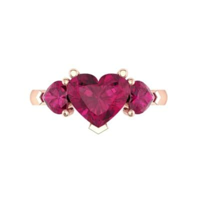 Heart Three-Stone Trellis Ruby Engagement Ring (1.72 CTW) Top Flat View