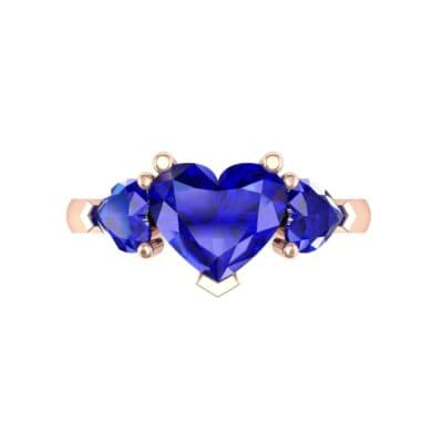 Heart Three-Stone Trellis Blue Sapphire Engagement Ring (1.72 CTW) Top Flat View