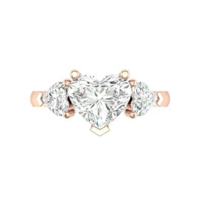 Heart Three-Stone Trellis Diamond Engagement Ring (1.72 CTW) Top Flat View