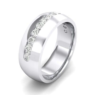 Domed Channel-Set Crystals Wedding Ring (1.04 Carat)