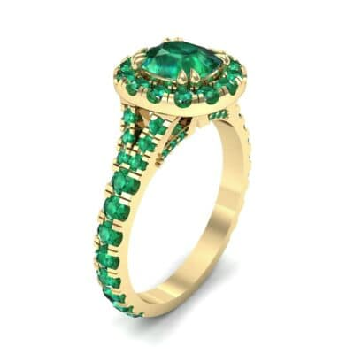Bridge Initial Cushion-Cut Halo Emerald Engagement Ring (1.88 CTW)