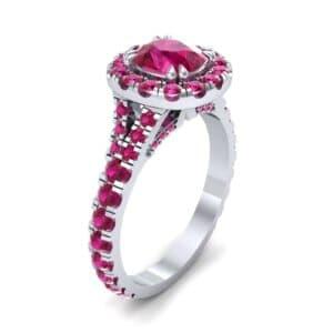 Bridge Initial Cushion-Cut Halo Ruby Engagement Ring (1.88 Carat)
