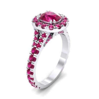 Bridge Initial Cushion-Cut Halo Ruby Engagement Ring (1.88 CTW)