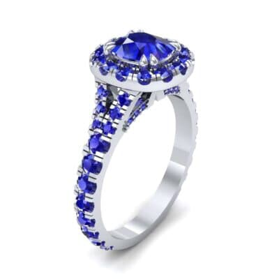 Bridge Initial Cushion-Cut Halo Blue Sapphire Engagement Ring (1.88 CTW)