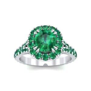 Bridge Initial Cushion-Cut Halo Emerald Engagement Ring (1.88 Carat)