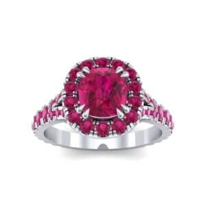 Bridge Initial Cushion-Cut Halo Ruby Engagement Ring (1.88 Carat)