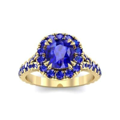 Bridge Initial Cushion-Cut Halo Blue Sapphire Engagement Ring (1.88 CTW) Top Dynamic View