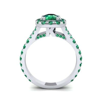 Bridge Initial Cushion-Cut Halo Emerald Engagement Ring (1.88 CTW) Side View