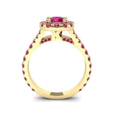 Bridge Initial Cushion-Cut Halo Ruby Engagement Ring (1.88 CTW) Side View