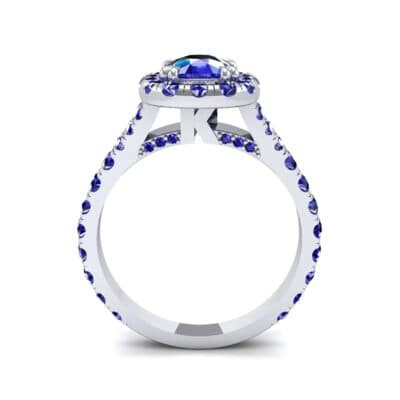Bridge Initial Cushion-Cut Halo Blue Sapphire Engagement Ring (1.88 CTW) Side View