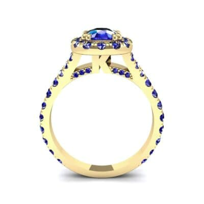 Bridge Initial Cushion-Cut Halo Blue Sapphire Engagement Ring (1.88 CTW) Side View