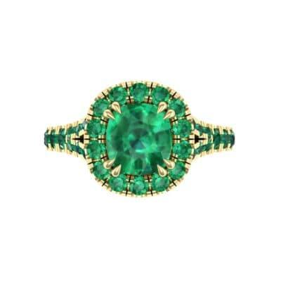 Bridge Initial Cushion-Cut Halo Emerald Engagement Ring (1.88 CTW) Top Flat View