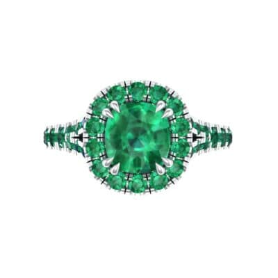 Bridge Initial Cushion-Cut Halo Emerald Engagement Ring (1.88 CTW) Top Flat View