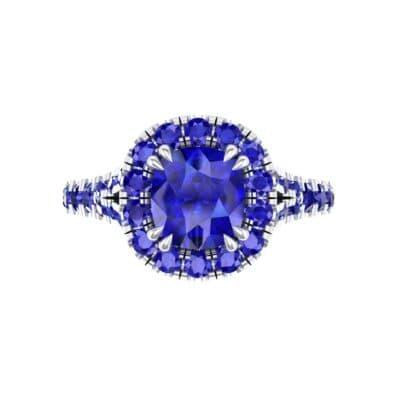 Bridge Initial Cushion-Cut Halo Blue Sapphire Engagement Ring (1.88 CTW) Top Flat View