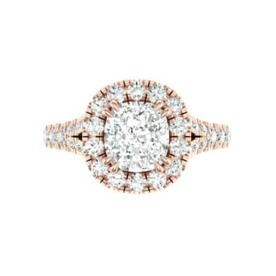 Bridge Initial Cushion-Cut Halo Diamond Engagement Ring (1.88 CTW) Top Flat View