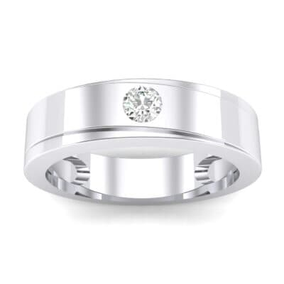 Flat Burnish-Set Solitaire Crystals Wedding Ring