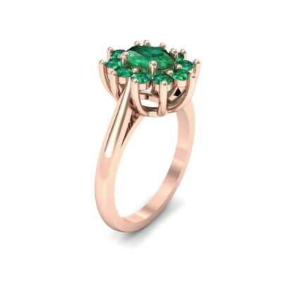 Lotus Oval Cluster Halo Emerald Ring (1.36 CTW)