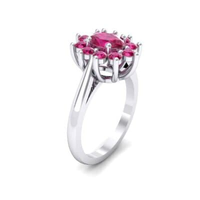 Lotus Oval Cluster Halo Ruby Ring (1.36 CTW)