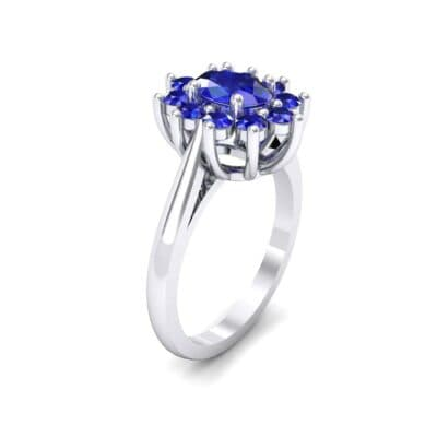 Lotus Oval Cluster Halo Blue Sapphire Ring (1.36 CTW)