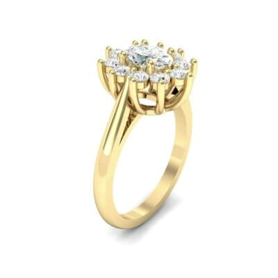 Lotus Oval Cluster Halo Diamond Ring (1.36 CTW)