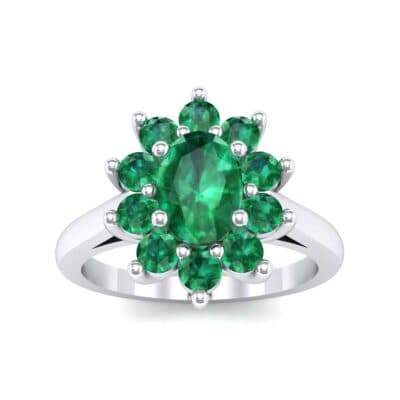 Lotus Oval Cluster Halo Emerald Ring (1.36 Carat)
