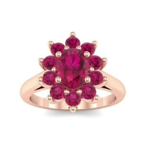 Lotus Oval Cluster Halo Ruby Ring (1.36 Carat)