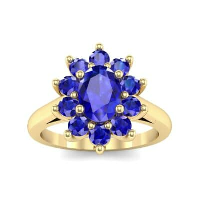 Lotus Oval Cluster Halo Blue Sapphire Ring (1.36 Carat)