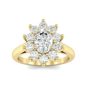 Lotus Oval Cluster Halo Diamond Ring (1.36 Carat)